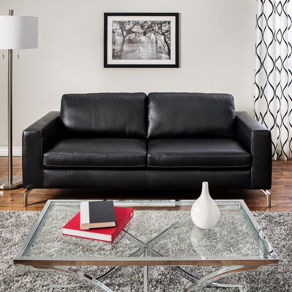 a7016ff66fea Shop Natuzzi Rovigo Black Italian Leather Metal-leg Sofa - Free ...