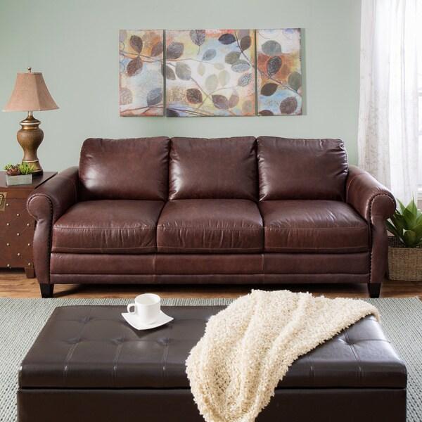 Natuzzi Foligno Brown Italian Leather Sofa Bed Free