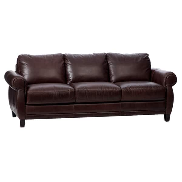 Shop Natuzzi Foligno Brown Italian Leather Sofa Bed - Free ...