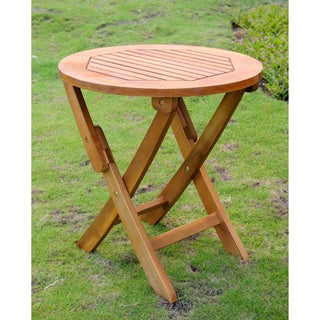 International Caravan Acacia 19-inch Round Folding Table