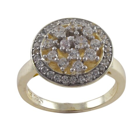 Luxiro Luxiro Goldplated Sterling Silver Cubic Zirconia Round Medallion Ring