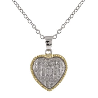 Luxiro Goldtone Sterling Silver Micro-pave Cubic Zirconia Two-tone Heart Pendant Necklace