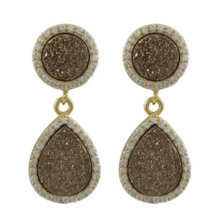 Luxiro Sterling Silver Druzy Quartz and Cubic Zirconia Graduated Teardrop Earrings