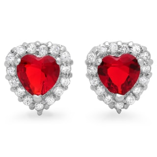 Sterling Essentials Silver Cherry Red Cubic Zirconia Heart Stud Earrings