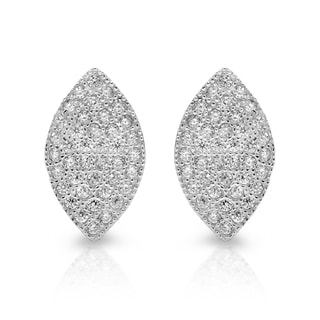 Sterling Essentials Silver Cubic Zirconia Micro-pave Marquise Stud Earrings