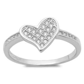 Sterling Essentials Silver Micro-pave Cubic Zirconia Heart Ring