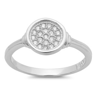 Sterling Essentials Silver Micro-pave Cubic Zirconia Circle Ring