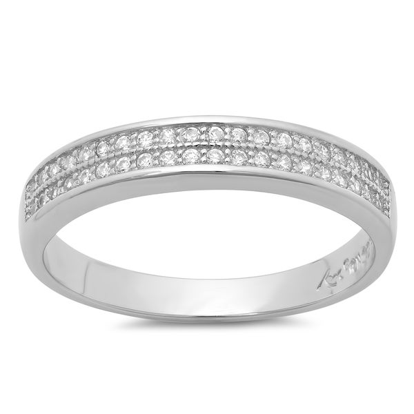 Sterling Essentials Sterling Silver Micro-pave Cubic Zirconia Ring
