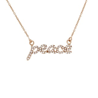 Link to Sterling Essentials Silver Cubic Zirconia Peace Necklace Similar Items in Necklaces