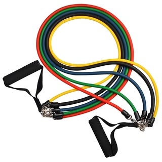 Insten 11-Piece Latex Resistance Band Workout Set