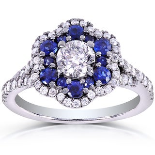 Annello by Kobelli 14k White Gold Blue Sapphire and 7/8ct TDW Ladies Floral Diamond Ring