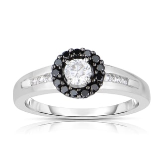 Eloquence 14k White Gold 1/2ct TDW Black Halo Diamond Ring (Black, I1-I2)