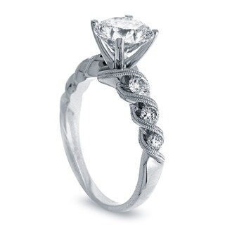 Azaro 14k White Gold 1ct TDW Vintage Diamond Engagement Ring