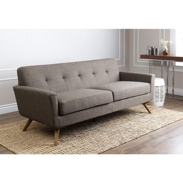 Abbyson Bradley Khaki Tufted Fabric Mid Century Style Sofa