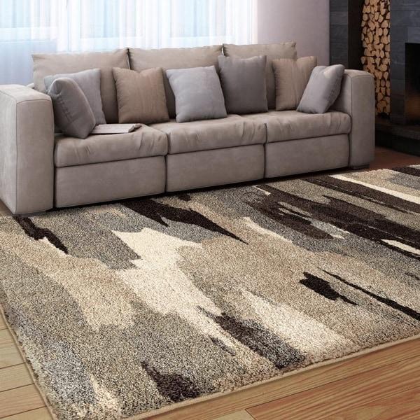 Carolina Weavers Grand Comfort Collection Dark Cloud Grey Shag Area Rug - Multi-color