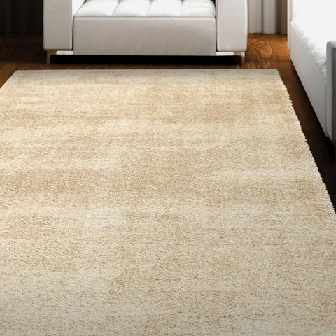"Carolina Weavers Cosmopolitan Collection Lafe Beige Shag Area Rug - 7'10"" x 10'10"""