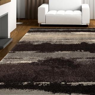 "Carolina Weavers Grand Comfort Collection Curry Black Shag Area Rug - 5'3"" x 7'6"""