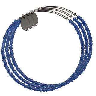 Pink Box 3-piece Adjustable Bead Bangle Bracelet in Transparent Dark Slate Blue