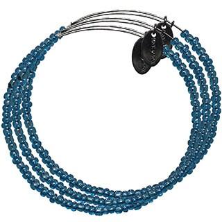 Pink Box 3-piece Adjustable Bead Bangle Bracelet in Silverlined Transparent Lapis Lazuli