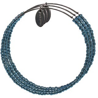 Pink Box 3-piece Adjustable Bead Bangle Bracelet in Silverlined Dark Electric Blue