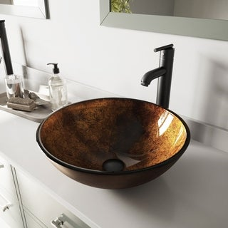 VIGO Russet Glass Vessel Bathroom Sink Set with Seville Faucet