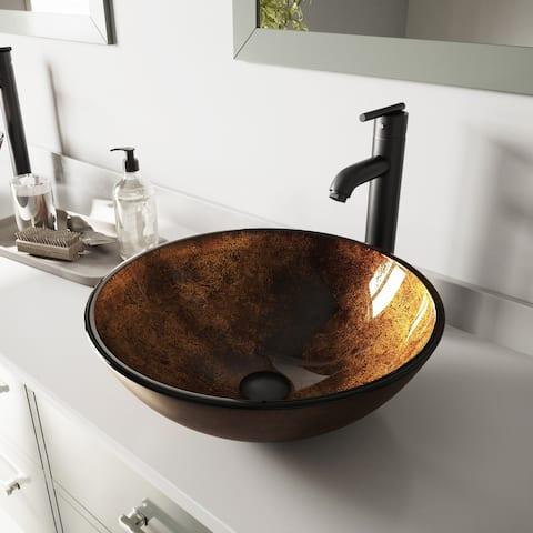VIGO Russet Glass Vessel Bathroom Sink Set with Seville Faucet