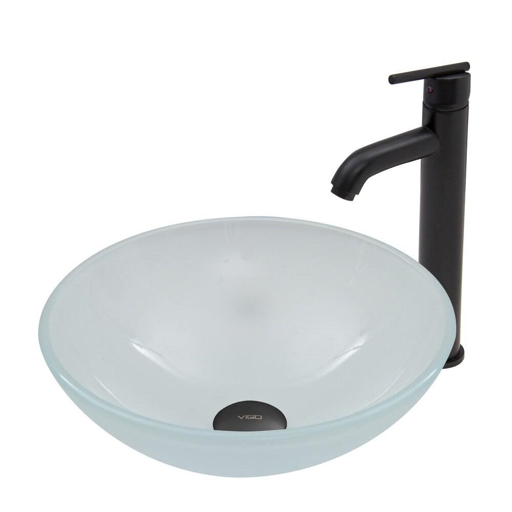 Vigo White Frost Glass Vessel Sink and Seville Faucet Set...