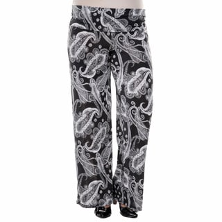 White Mark Women's Plus Size Bandana Print Palazzo Pants