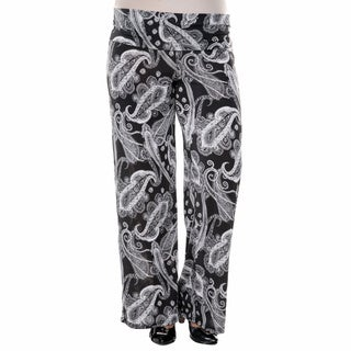 White Mark Women's Plus Size Bandana Print Palazzo Pants