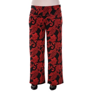 White Mark Women's Plus Size Black and Red Paisley Palazzo Pants