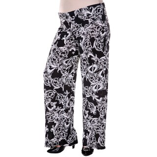 White Mark Women's Plus Size Black Fleur de Lis Palazzo Pants