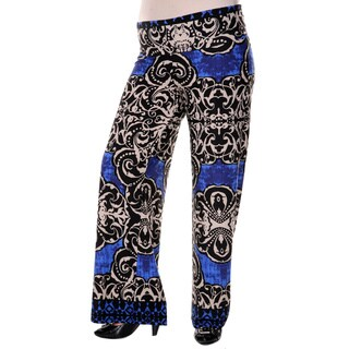 White Mark Women's Plus Size Medallion Print Palazzo Pants