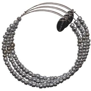 Pink Box 3-piece Adjustable Bead Bangle Bracelet in Glass Silver