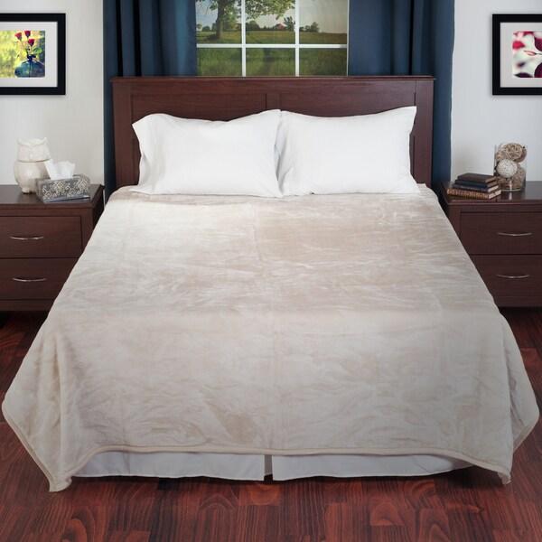 Lavish Home Soft Plush Faux Mink Beige Queen Size Blanket