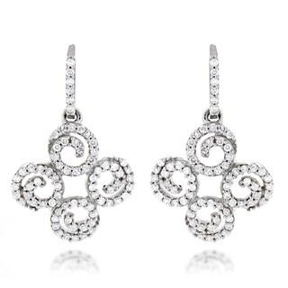 Luxurman 14k White Gold 1/2ct TDW Diamond Swirl Dangle Earrings (H-I, SI1-SI2)