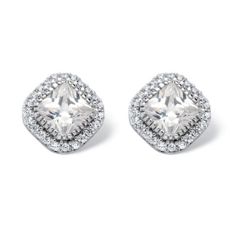 3.84 TCW Princess-Cut Cubic Zirconia Halo Stud Earrings in Platinum over Sterling Silver C