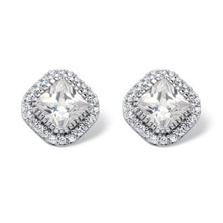 PalmBeach 3.84 TCW Princess-Cut Cubic Zirconia Halo Stud Earrings in Platinum over Sterling Silver Classic CZ