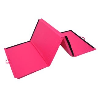 "Soozier 4' x 10' x 2"" PU Leather Folding Gymnastics Mat - Pink"