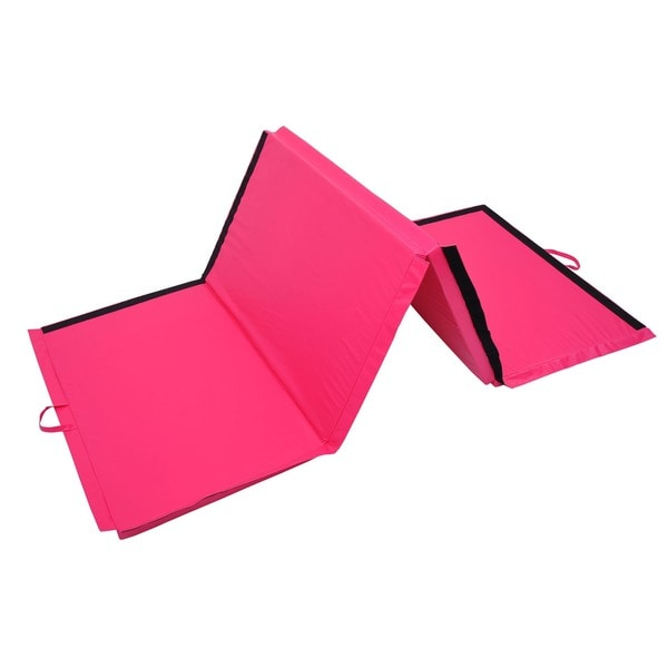 "Soozier 4' x 10' x 2"" PU Leather Folding Gymnastics Mat - Pink"