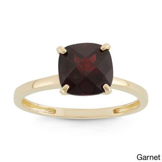 Gioelli 10k Yellow Gold Cushion-cut Birthstone Ring (More options available)