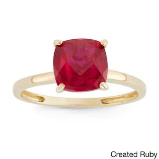 Gioelli 10k Yellow Gold Cushion-cut Birthstone Ring