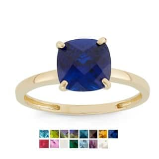 Gioelli 10k Yellow Gold Cushion-cut Birthstone Ring (Option: White)|https://ak1.ostkcdn.com/images/products/9617080/P16802389.jpg?impolicy=medium