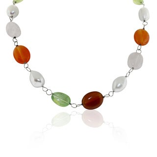 Gioelli Sterling Silver Gemstone with Freshwater Pearl Necklace (10-11mm)