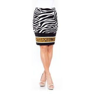 White Mark Women's 'Pretty and Proper' Zebra Pencil Skirt