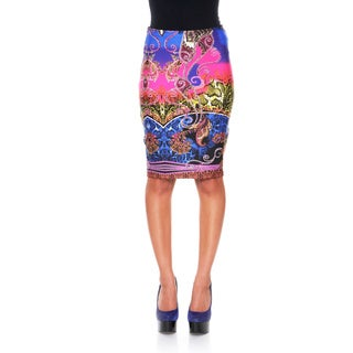 White Mark Women's 'Pretty & Proper' Rainbow Python Pencil Skirt