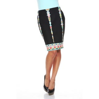 White Mark Women's 'Pretty and Proper' Multi-colored Pattern Pencil Skirt