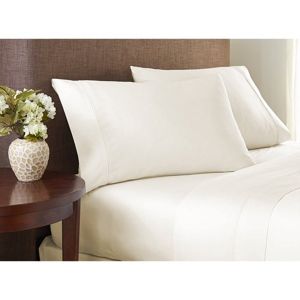 400 Thread Count Cotton Sheet Set Ultra Soft Peach Finish by Color Sense