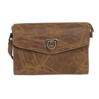 Handmade Leather 'Diva' Flap Shoulder Bag (Mexico)