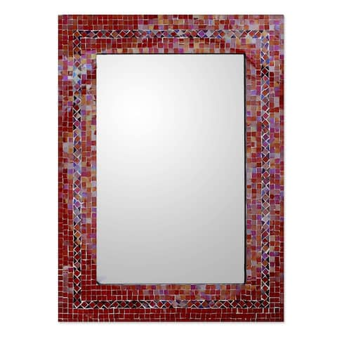 Handmade Mosaic Glass Sunset Myriad Glass Tiles Border Mirror(India)