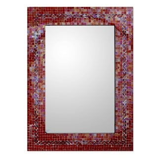 Handcrafted Mosaic Glass India Sunset Myriad Glass Tiles Border Mirror (India)